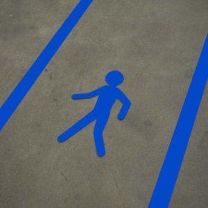 Lopende man voetganger vloersticker blauw