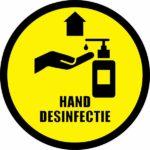 Corona sticker handen desinfecteren verplicht