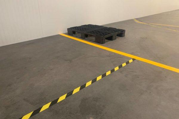 Vloermarkeringtape geel/zwart geel zwarte gele vloertape magazijn markering tape