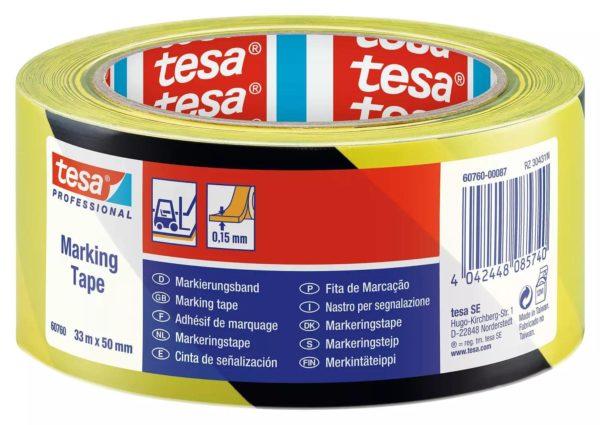 Waarschuwingstape Tesa Markeringstape Geel/Zwart
