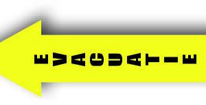 Evacuatiepijl geel vloersticker bord