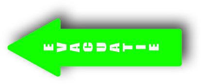 Evacuatie pijl groen sticker bord
