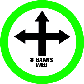 Wegwijzer links 3-gangs weg bord vloersticker