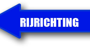 Rijrichting links blauw sticker bord