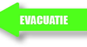 Evacuatie groen links sticker bord