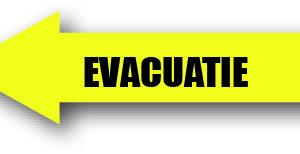 Evacuatie geel links sticker bord