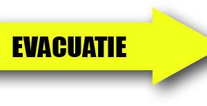 Evacuatie geel rechts sticker bord