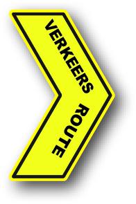 Verkeersroute bord vloersticker