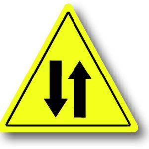 Tegemoet komend verkeer waarschuwingsbord