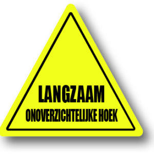 Onoverzichtelijke hoek waarschuwingsbord