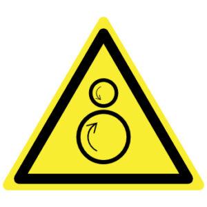 Draaiende delen klemgevaar waarschuwingsbord