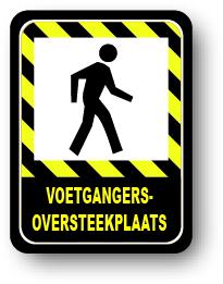 Voetgangersoversteekplaats waarschuwingsbord