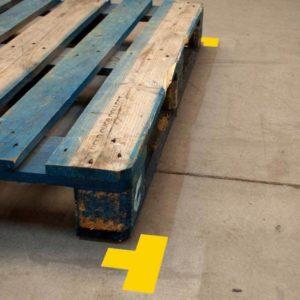 Durastripe vloermarkering kleine T hoek geel