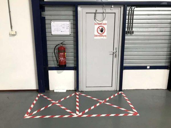 vloertape vloermarkeringstape rood wit rood/wit